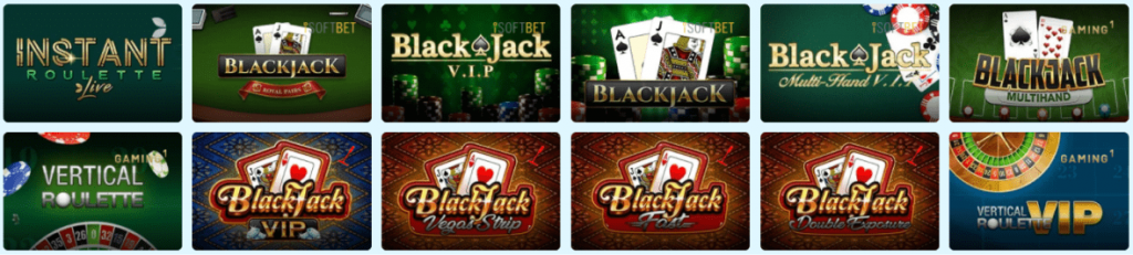 PlayFrank Casino table games